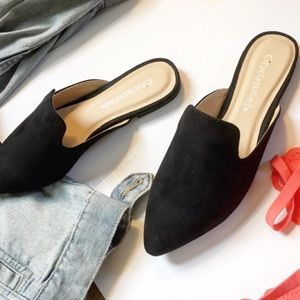 Shoes - Vegan suede black flats mules